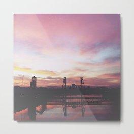 Steel Bridge Sunrise Metal Print