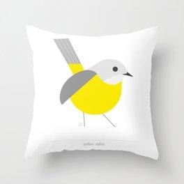 Bird, yellow robin, geometric & minimalism Throw Pillow