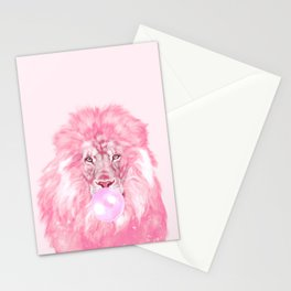 Lion Chewing Bubble Gum in Pink Stationery Cards