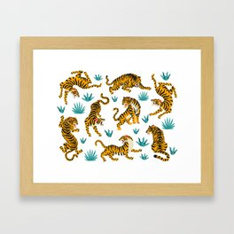 Asian tigers and tropic plants on background. Framed Art Print