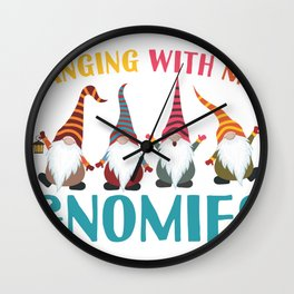 Hanging With My Gnomies I Christmas Gnomes  Wall Clock