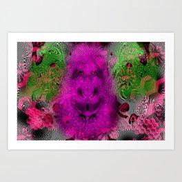 Grape Gorilla Man (abstract, psychedelc, op art, halftone) Art Print