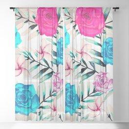 Elegant Watercolor Floral Art Sheer Curtain