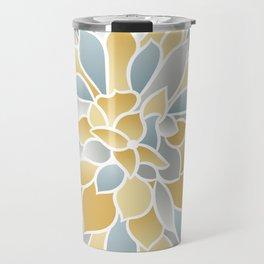 Floral Modern Art Print, Yellow, Aqua and Gray, Floral Prints Travel Mug