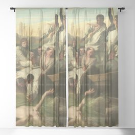 Classical Masterpiece 'Watson and the Shark' by John Singleton Copley Sheer Curtain