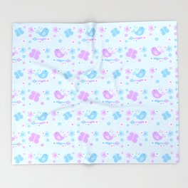 Chickadee Bird Butterfly Floral Purple Lavender Blue Throw Blanket