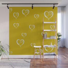 Polka Heart Party, Gold Wall Mural