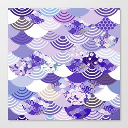 Nature background with japanese sakura flower, Cherry, wave circle. Ultra Violet Color of the Year Canvas Print