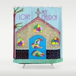 ASL I Love my Church Shower Curtain