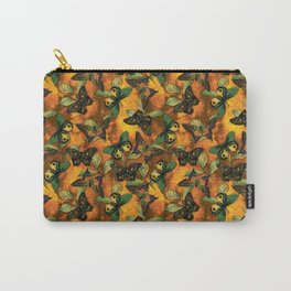 Butterfly on Gold Damask Carry-All Pouch