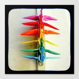 Rainbow Peace Cranes Canvas Print