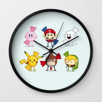 nintendo Wall Clocks featuring Nintendo Treats by Nabhan Abdullatif