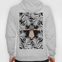 Black and white Botanical Design Hoody