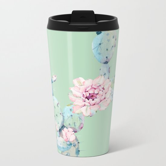 Rose Desert Cactus Mint Green + Pink Metal Travel Mug