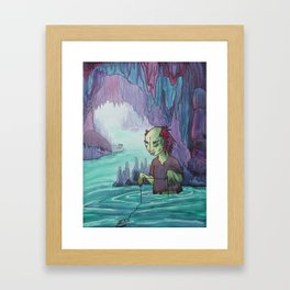 Cave Fishing Framed Art Print