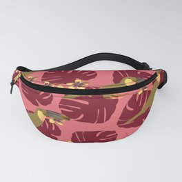 Colorful Monstera, Frangipani and Toucan Pattern Q Fanny Pack