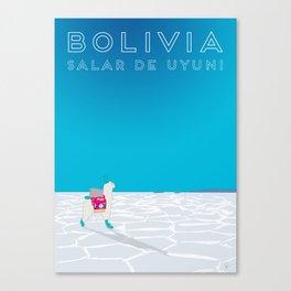 Bolivia Salt Flats Travel Poster Canvas Print