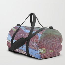 NEW YORK CITY Manhattan city old map Father Day art print poster Duffle Bag