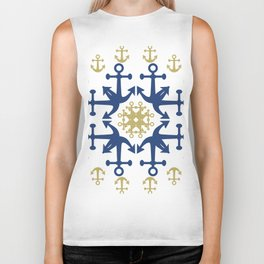 Anchors of Gold and Blue Biker Tank