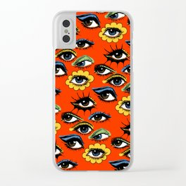 60s Eye Pattern Clear iPhone Case