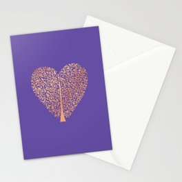 Rose Gold Foil Tree of Life Heart Stationery Cards