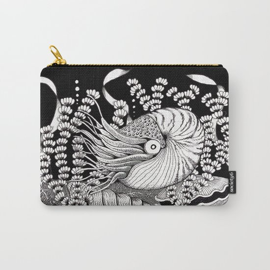 Zentangle Nautilus Black Ocean Carry-All Pouch
