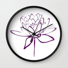 Lotus Blossom Calligraphy Purple 2 Wall Clock
