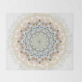 Overlapping Bee Mandala (Color) Throw Blanket