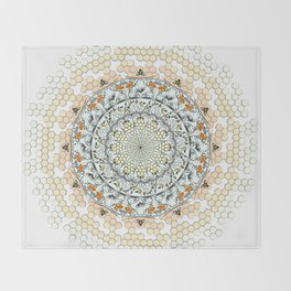 Overlapping Bee Mandala (Color) Throw Blanket