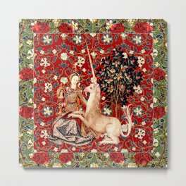 Lady And Unicorn (Red) Metal Print