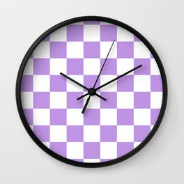 Checkered - White and Light Violet Wall Clock