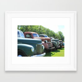 Antique Trucks in a Row Framed Art Print