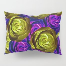 blooming rose texture pattern abstract background in pink purple yellow Pillow Sham