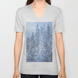 Winter forest in the Mountains Unisex V-Neck