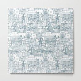 Edinburgh toile denim white Metal Print