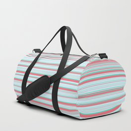 Sky Blue Red Candy Lines Duffle Bag