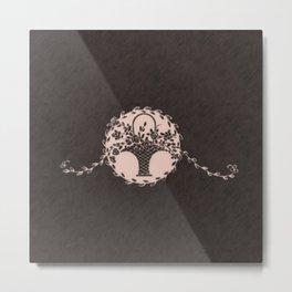 Vintage Floral Pale Dogwood Chalkboard Metal Print