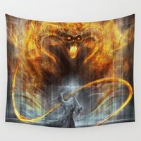 lotr Wall Tapestries featuring 'You shall not pass' by Jasric Art
