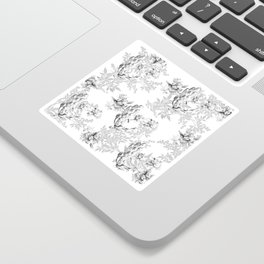PEACOCK LILY TREE AND LEAF TOILE GRAY AND WHITE PATTERN Sticker