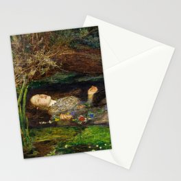 Ophelia Brick Wall Painting by Sir John Everett Millais Stationery Cards