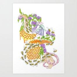 Beebalm Flower Art Print