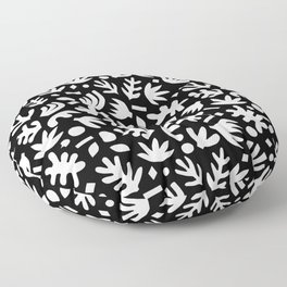 Matisse Paper Cuts // White on Black Floor Pillow