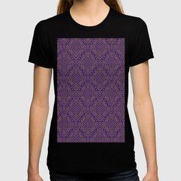 Purple and Gold Bandhani Bandhej Indian Sari Print T-shirt