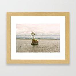 Altoona Rock Seastack Island Columbia River Oregon Washington Northwest Landscape Forest Trees Framed Art Print