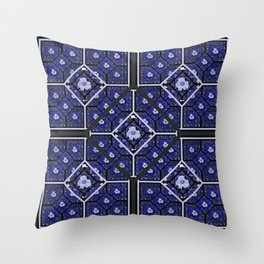 Cherokee Rose Pattern 2 royal blue and black Throw Pillow
