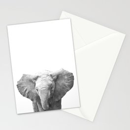 Black and White Baby Elephant Stationery Cards