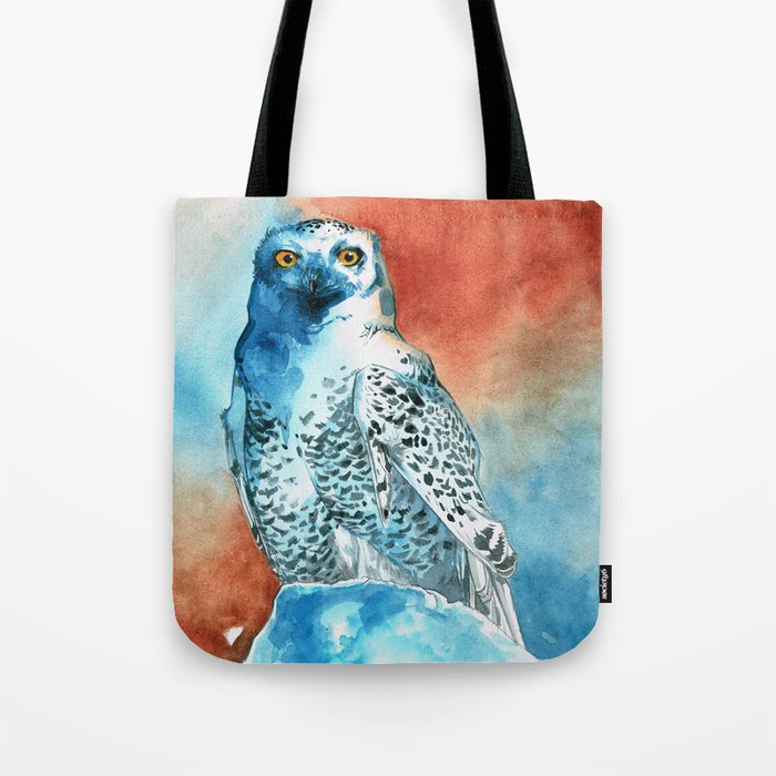 Snowy Owl Watercolor Tote Bag