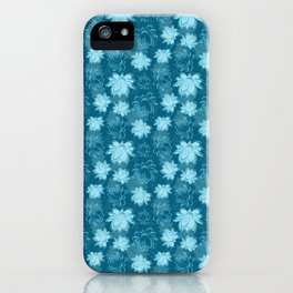 Lotus flower pattern in blue color iPhone Case