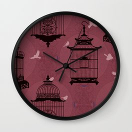Rasberry Empty Brid Cages Wall Clock