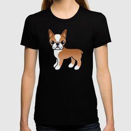 Red Boston Terrier Cute Cartoon Illustration T-shirt